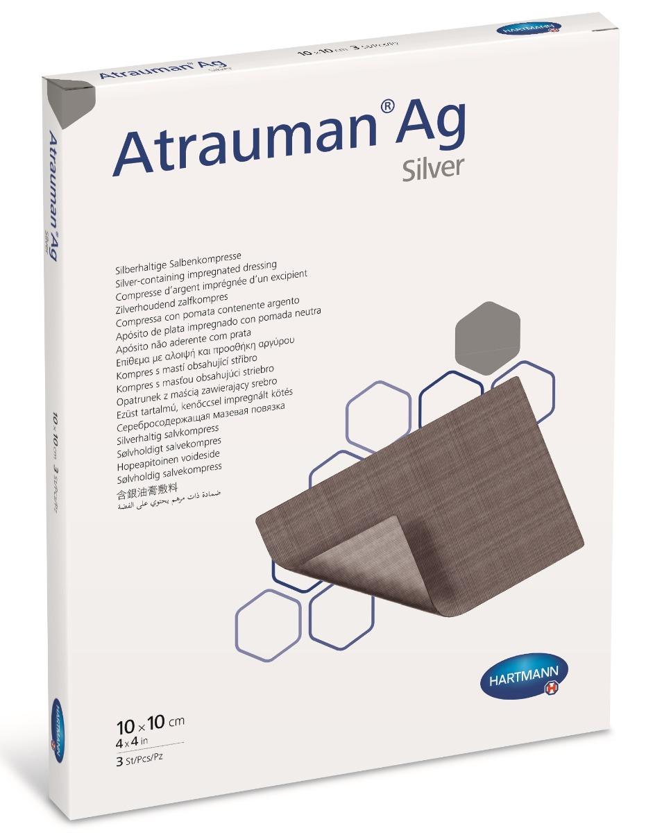Pansament cu unguent neutru si argint, 10x10 cm, 10 bucati, Atrauman imagine produs 2021