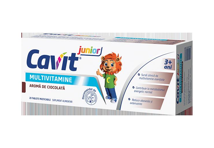 Cavit Junior Ciocolata, 20 tablete masticabile, Biofarm drmax.ro