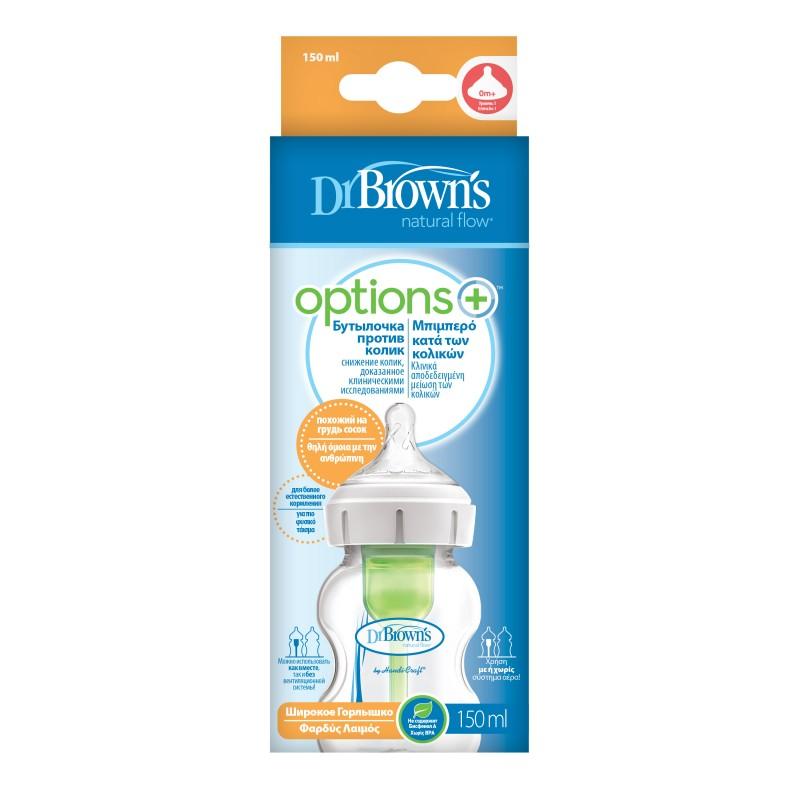 Biberon anti-colici cu gat larg Options+, 150ml, Dr. Brown's drmax.ro