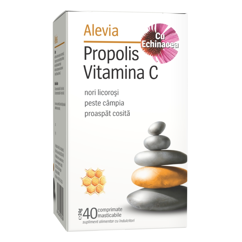 Propolis Vitamina C cu Echinacea, 40 comprimate masticabile, Alevia drmax poza