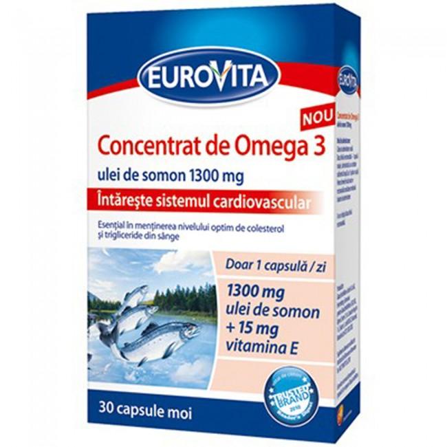 Concentrat de Omega-3 1300mg plus vitaminele D3 + E, 30 capsule, Eurovita imagine produs 2021