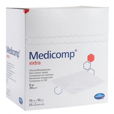 Comprese extra absorbante din material netesut, 10x20 cm, 25 bucati, Medicomp