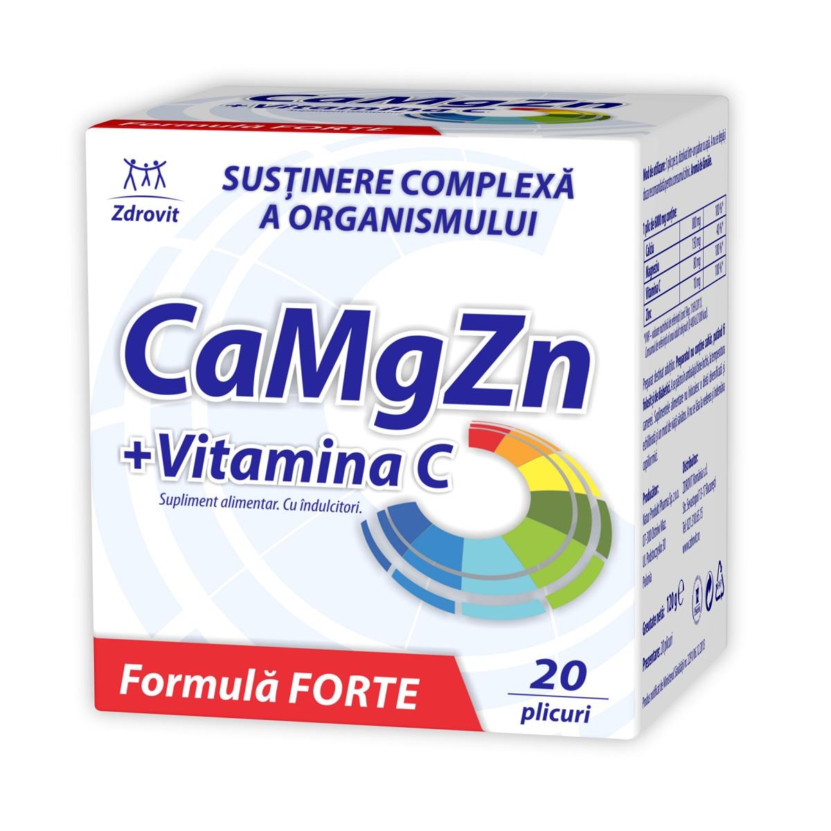 CaMgZn + Vitamina C, 20 plicuri, Zdrovit imagine produs 2021
