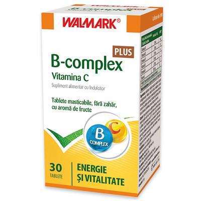 B complex + Vitamina C cu aroma de fructe, 30 tablete, Walmark la preț mic imagine