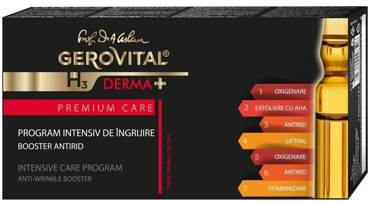 Kit program intensiv ingrijire antirid GH3 Derma+ Premium Care, 7 fiole x 2ml, Gerovital drmax.ro