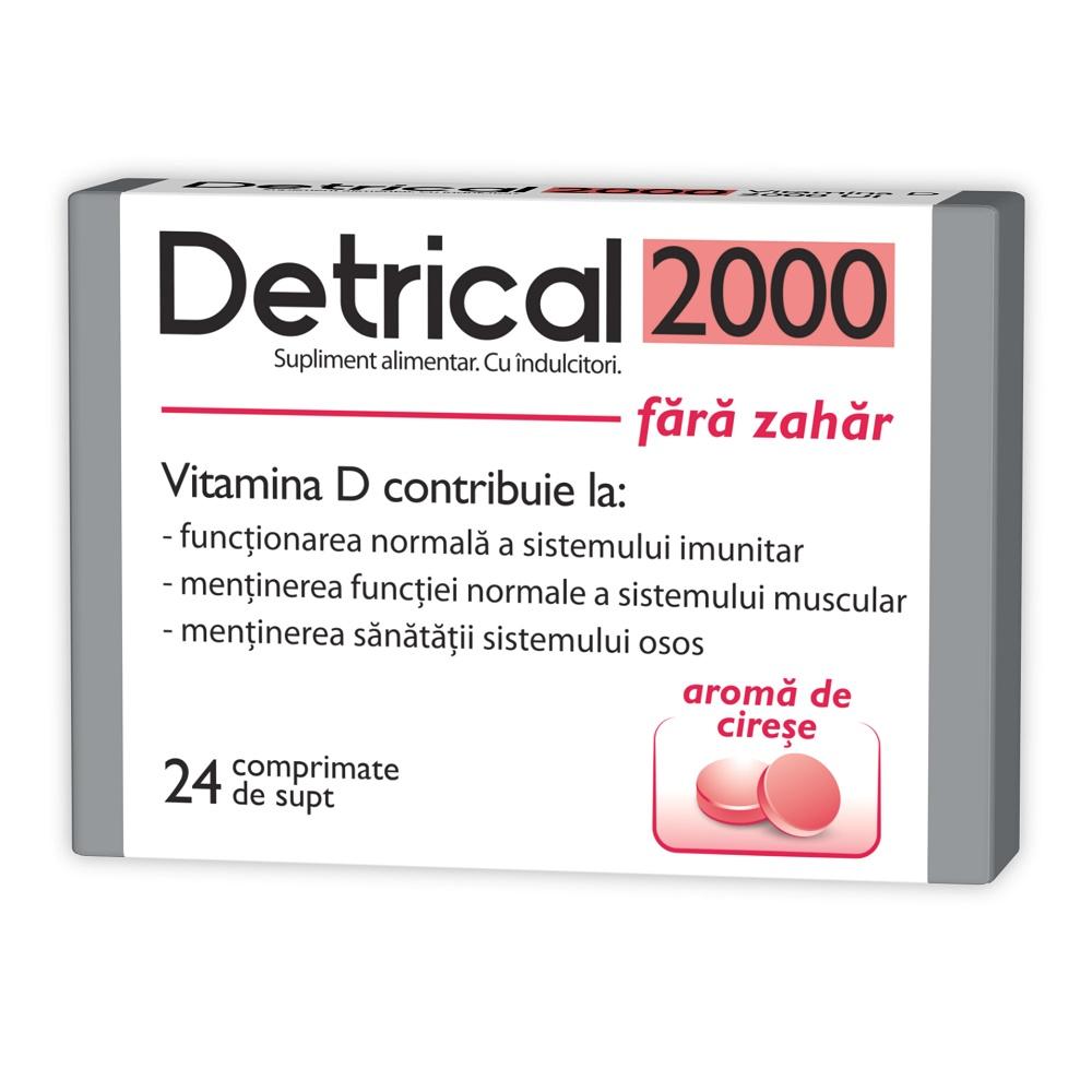 Detrical D3 2000 UI fara zahar cu aroma de cirese, 24 comprimate de supt, Zdrovit drmax poza
