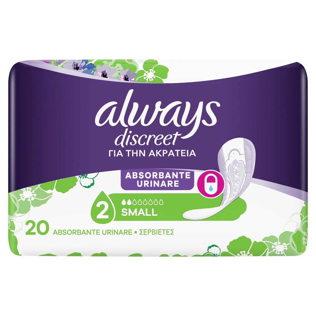 Absorbante pentru incontinenta urinara Discreet Pads Small, 20 bucati, Always drmax.ro