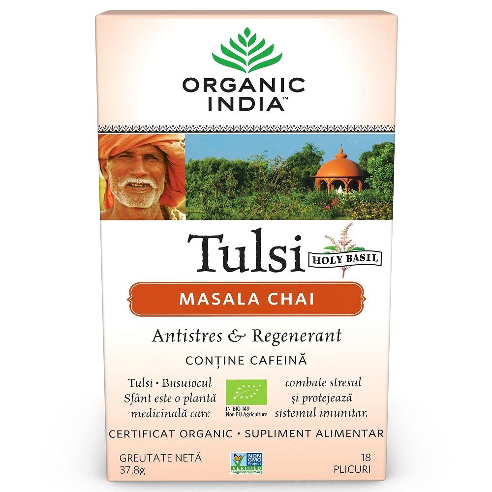 Tulsi Masala Chai Relaxant si Regenerant, 18 plicuri, Organic India imagine produs 2021