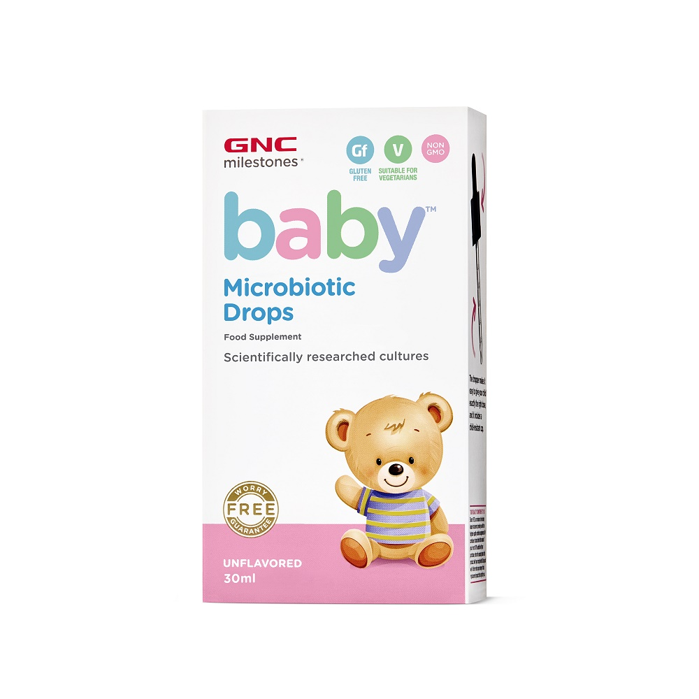 Picaturi pentru bebelusi Microbiotic Drops Milestones Baby, 30ml, GNC imagine produs 2021