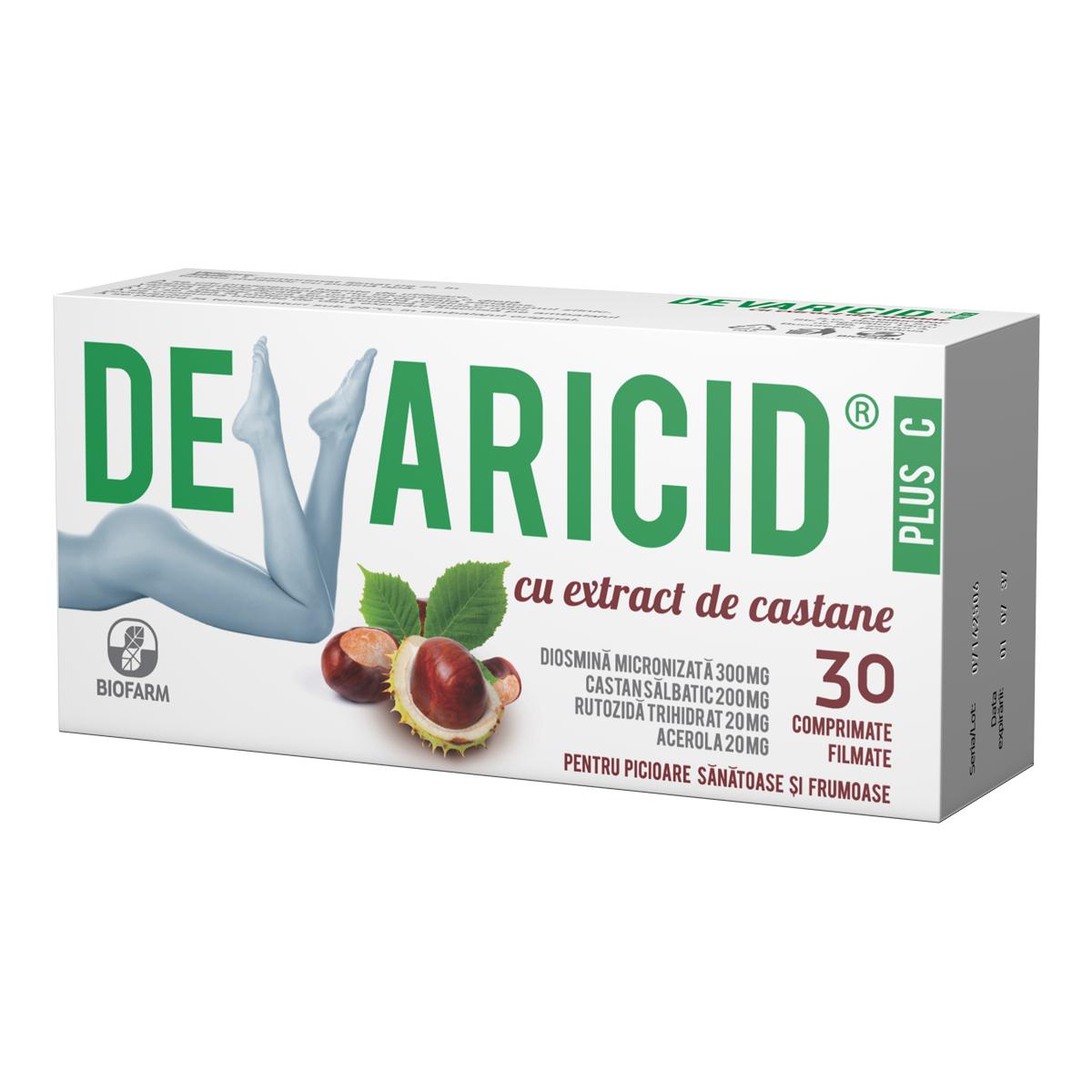 Devaricid plus C cu extract de castane, 30 comprimate, Biofarm la preț mic imagine