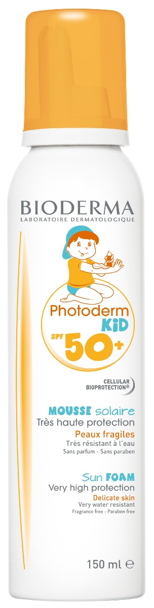 Spuma pentru protectie solara Photoderm Kid, SPF50+, 150ml, Bioderma drmax.ro