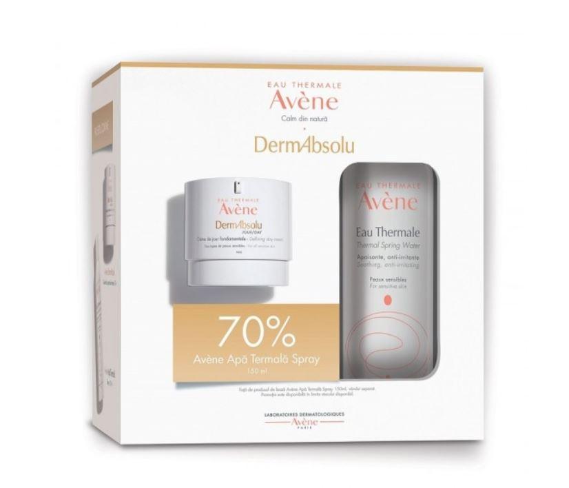 Pachet Crema de zi fermitate DermAbsolu 40ml + 70% reducere la Apa termala spray 150ml, Avene