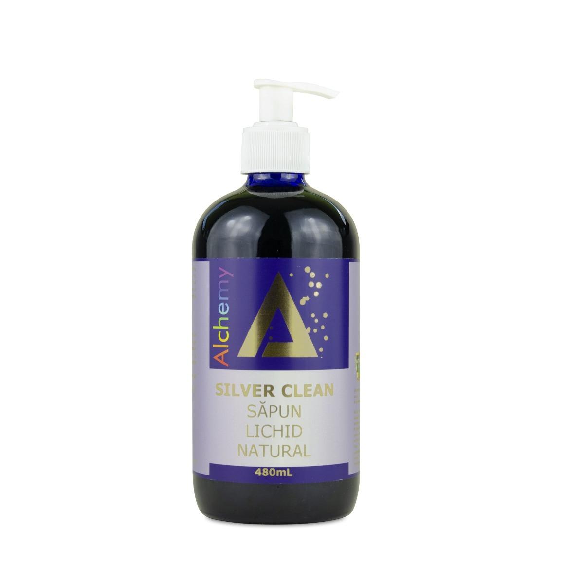 Silver Clean sapun lichid natural cu aur si argint, 480ml, Aghoras drmax.ro