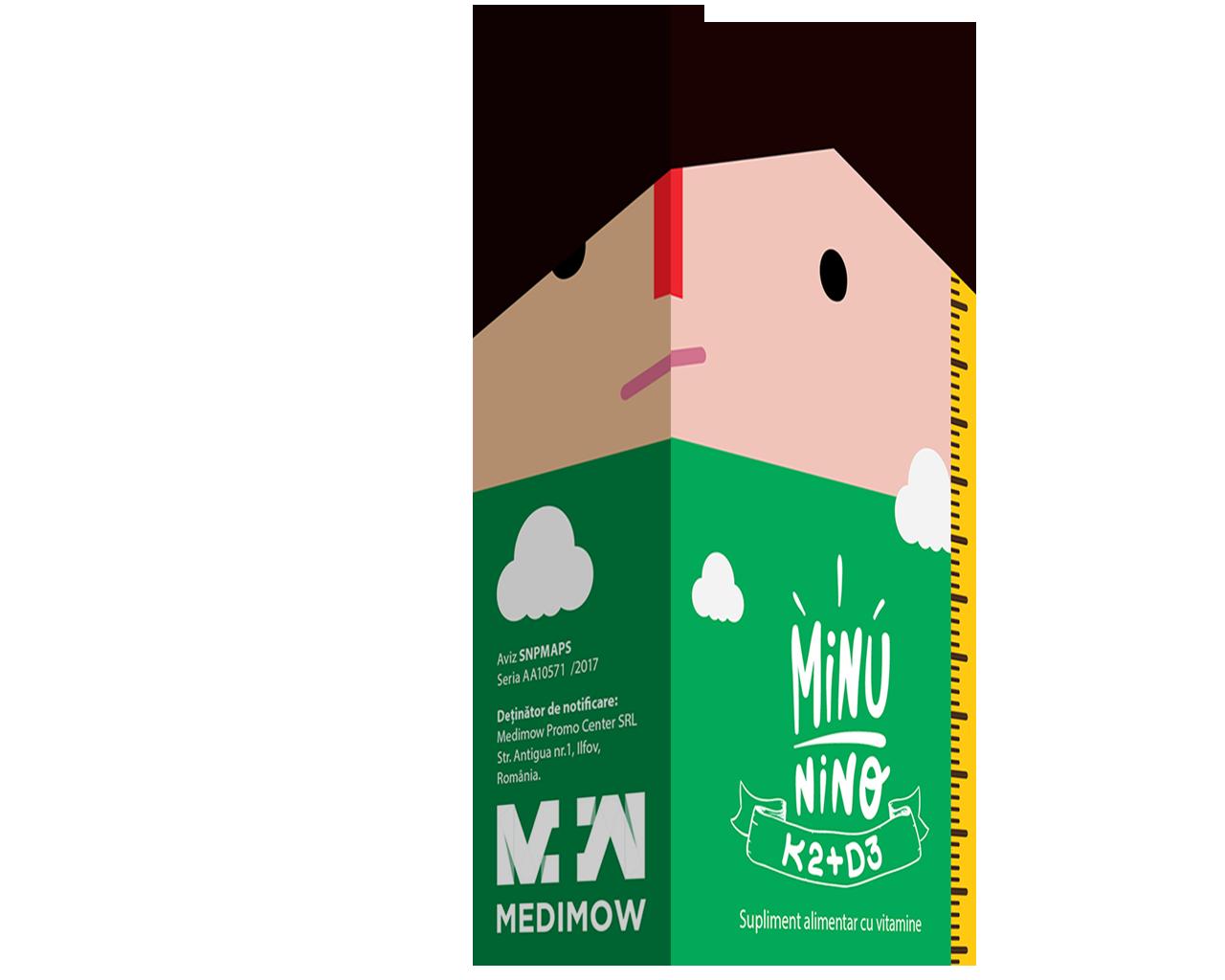 Solutie orala K2 + D3 Minunino, 10 ml, Medimow drmax.ro