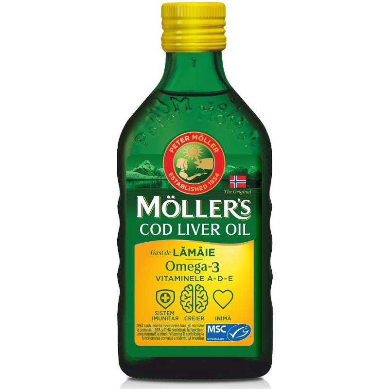 Moller's Cod liver oil Omega-3 aroma de lamaie, 250 ml, Orkla Health imagine produs 2021
