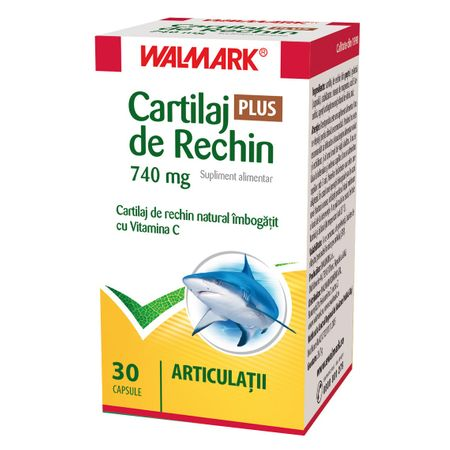 Cartilaj de Rechin Plus 740 mg cu Vitamina C, 30 capsule, Walmark drmax poza