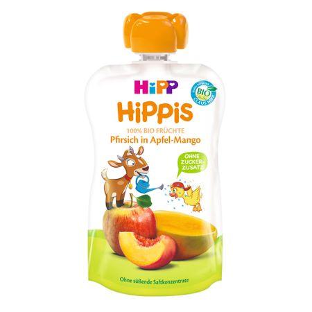 Piure de fructe, piersica, mar si mango, incepand de la 12 luni, 100 g, HiPP drmax.ro