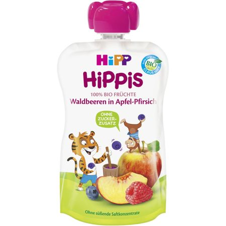 Piure de fructe, mar, piersica si fructe de padure, incepand de la 12 luni, 100 g, HiPP drmax.ro