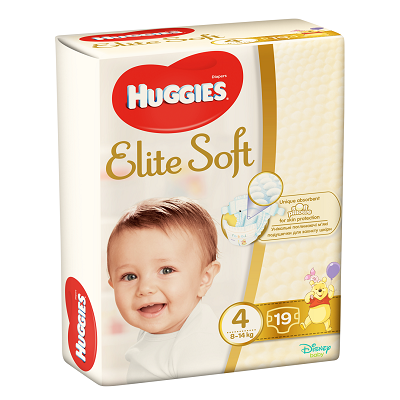 Scutece pentru copii Elite Soft 4, 8-14 kg, 19 bucati, Huggies drmax.ro